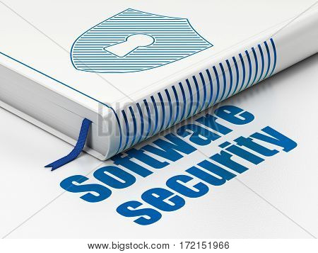 Safety concept: closed book with Blue Shield With Keyhole icon and text Software Security on floor, white background, 3D rendering