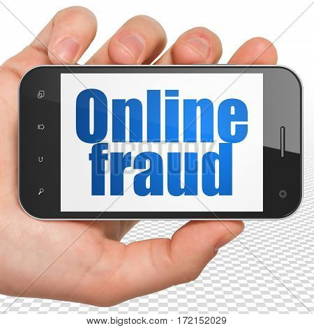 Safety concept: Hand Holding Smartphone with blue text Online Fraud on display, 3D rendering