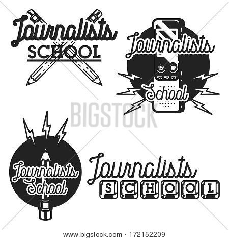 vintage journalists school emblems labels badges and design elements. Mass media and press conference.