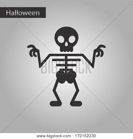 black and white style icon of halloween skeleton