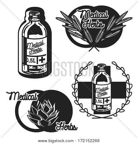 vintage medical plants herbs emblems labels badges and design elements. Vector illustration, EPS 10