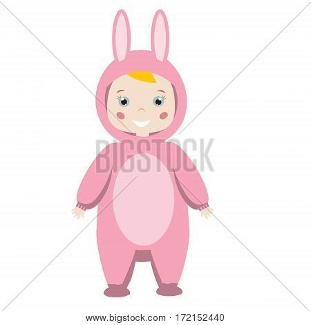 Kids Party Outfit. Cute smiling girl in Animal Carnival Costume. Pink bunny rabbit hare.