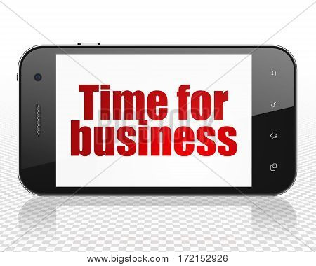Finance concept: Smartphone with red text Time for Business on display, 3D rendering