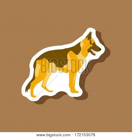 paper sticker on stylish background German Shepherd
