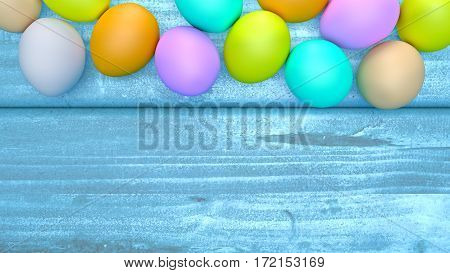 Top view of Easter eggs on a wooden table. 3D Rendering