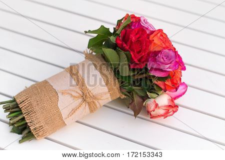 Beautiful Bouquet Of Roses On White Table. Dof