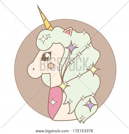 Cute kawaii Unicorn head in cartoon style. Vector illustration in soft pastel colors