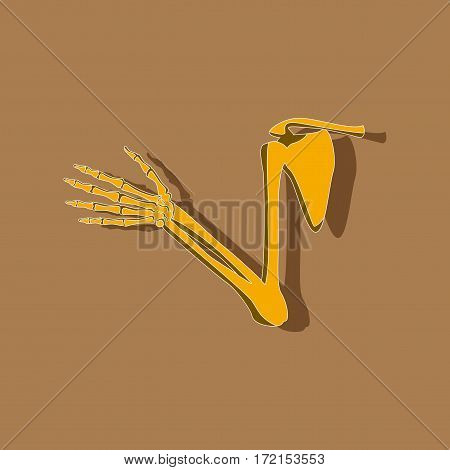 shoulder joint paper sticker on stylish background