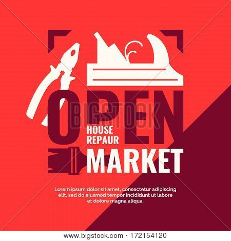 Hand tools for home renovation and construction. House repair open market, vintage poster. Vector illustration and template.