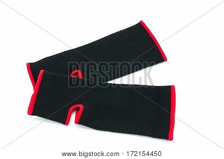 Close up elastic ankle support on white background
