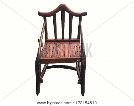 Armchair vintage old style wooden furniture isolated on white background.