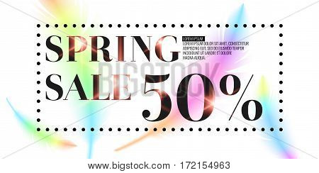 Spring Sale, bright bird feathers on a white background. Fashionable and modern vector poster.
