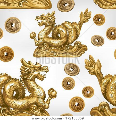 Seamless pattern of the gold dragon. The symbol of Feng Shui.