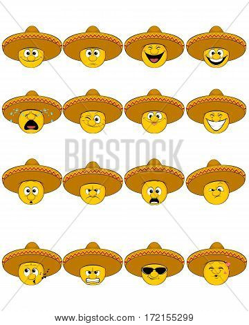 Vector illustration of a sixteen faces in sombrero