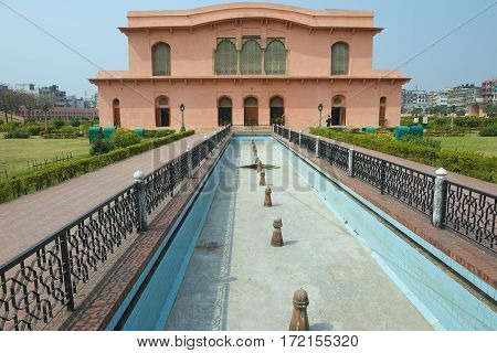 DHAKA, BANGLADESH - FEBRUARY 22,2014: Exterior of the Historical Museum Building of The mausoleum of Bibipari in Lalbagh Fort, Dhaka, Bangladesh