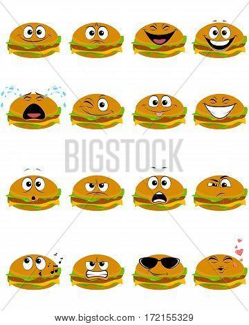 Vector illustration of a sixteen hamburgers emojis