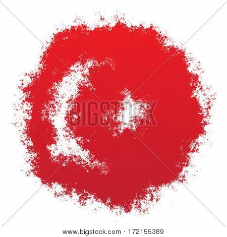 Color spray stylized flag of Turkey on white background