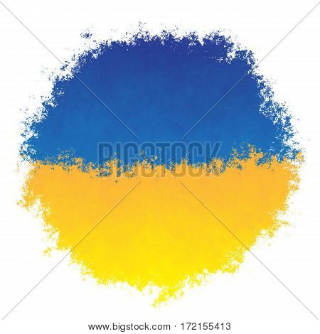 Color spray stylized flag of Ukraine on white background
