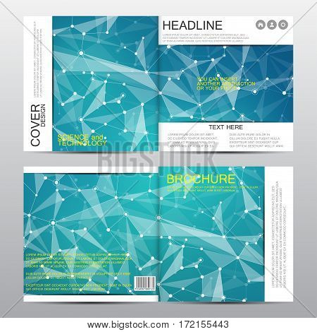 Square brochure template with molecular structure. Geometric abstract background. Medicine, science, technology. Vector illustration