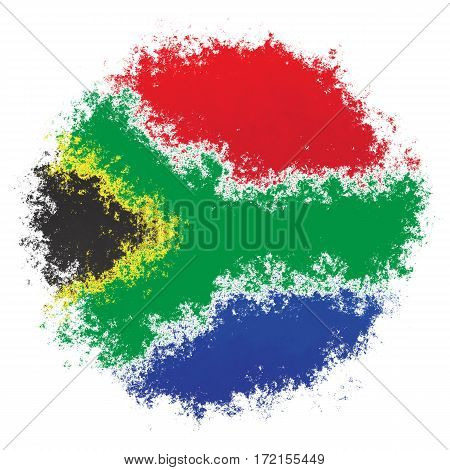 Color spray stylized flag of South Africa on white background