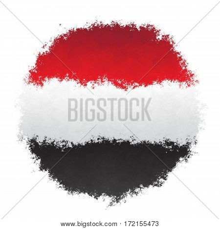 Color spray stylized flag of Yemen on white background