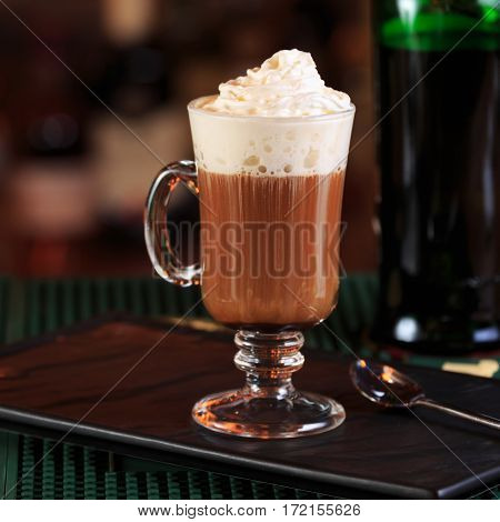 Irish Coffee In A Bar. Concept Of St Patrick Holiday. Holiday Background