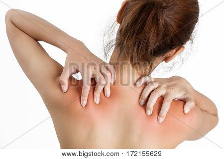 woman hand massaging her shoulder back side in pain area red highlighted Isolated on white background.