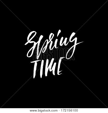 Hand lettered style spring design on a white background. Spring Time hand drawn calligraphy letters. Vector illustration