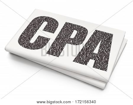Finance concept: Pixelated black text CPA on Blank Newspaper background, 3D rendering