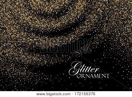 Golden Confetti Glitters. Vector Festive Illustration of Shiny Particle Ripples. Sparkling Texture. Holiday Decorative Tinsel Element for Design