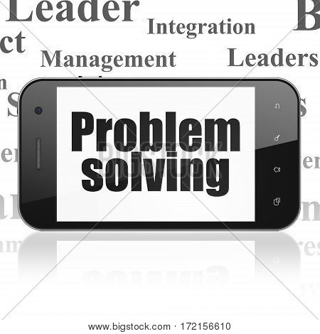 Business concept: Smartphone with  black text Problem Solving on display,  Tag Cloud background, 3D rendering