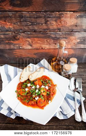 Closeup Of Fresh Shrimp Creole With Bread On Rustik Background