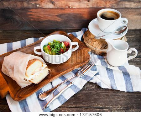 Italian Panini Sandwich With Cheese And Bacon, Fresh Salad And Cap With Coffee. Breakfast And Lunch