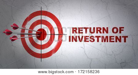 Success business concept: arrows hitting the center of target, Red Return of Investment on wall background, 3D rendering