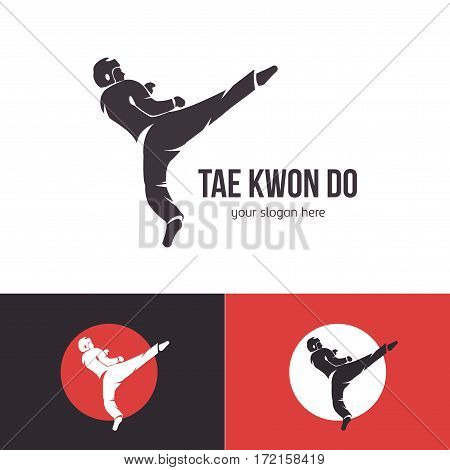 Vector taekwondo logo template. Martial arts badge. Emblem for sports events, competitions, tournaments. Silhouette of a man