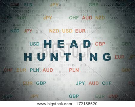 Business concept: Painted blue text Head Hunting on Digital Data Paper background with Currency