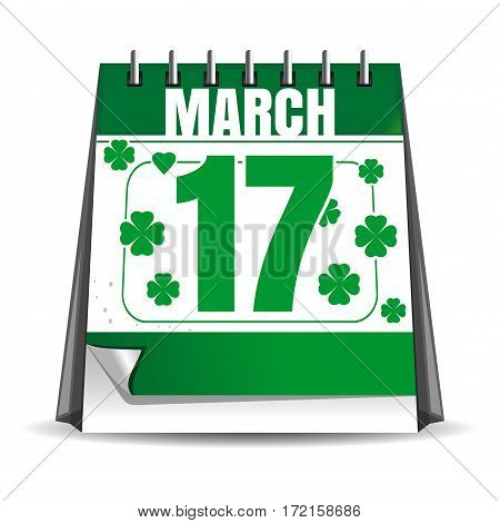 Calendar. 17 March. St. Patrick's Day celebration. Holiday date in the calendar. Desktop calendar isolated on white background. Vector illustration