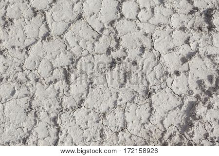 White arid cracked dry textured desert terrain
