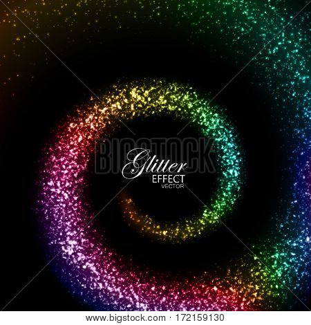 Magic glowing iridescent trail of particles. Vector illustration of shiny spiral rainbow trace. Glittering swirl trail. Stream of sparkling particles. Decoration element for gay party poster design.