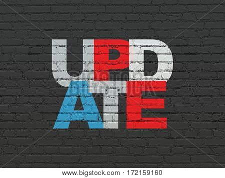 Web development concept: Painted multicolor text Update on Black Brick wall background