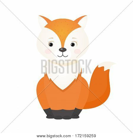 Red cute fox, illustration for children. Design element for baby shower card, scrapbooking, invitation, childish accessories. Isolated on white background. Vector illustration.