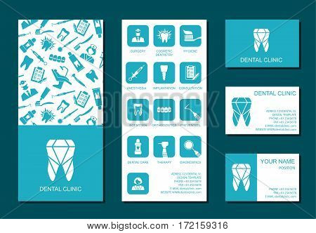 Set of flyerand business cards for dental clinic. Set of promotional products. Flat design. Vector illustration