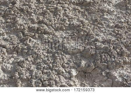Lumpy arid dried white textured desert soil