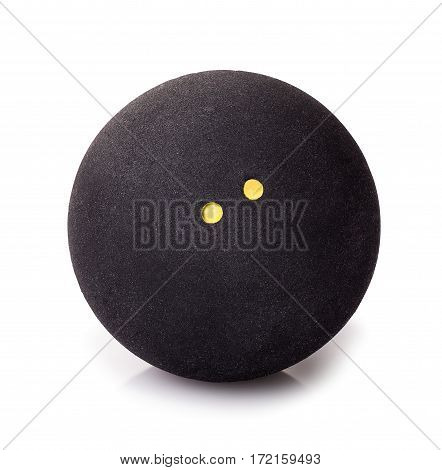 Squash ball with two dots isolated on white. Closeup of black rubber squash ball