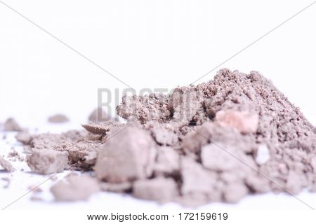 Makeup powder with text isolated on white background. Flyer, banner or catalog page concept