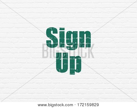Web development concept: Painted green text Sign Up on White Brick wall background