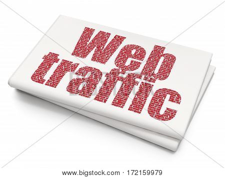 Web design concept: Pixelated red text Web Traffic on Blank Newspaper background, 3D rendering
