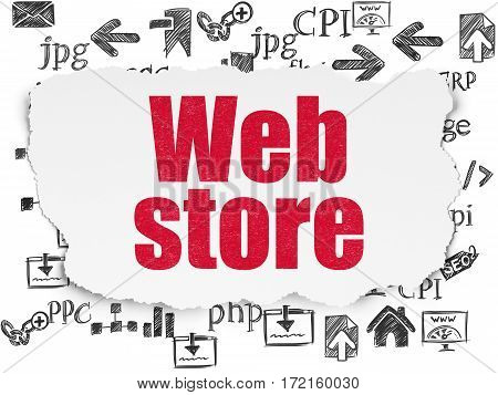 Web design concept: Painted red text Web Store on Torn Paper background with  Hand Drawn Site Development Icons