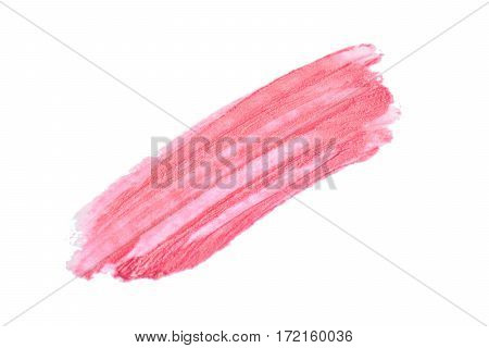 Lipstick paint strokes isolated on white. Cosmetic isolated on white background. Smear stroke