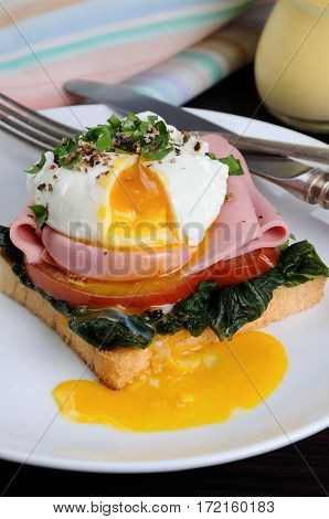 Poached eggs on toast with tomato ham spinach spices and herbs